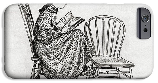 Nineteenth iPhone Cases - Young Woman Reading In The Nineteenth iPhone Case by Ken Welsh