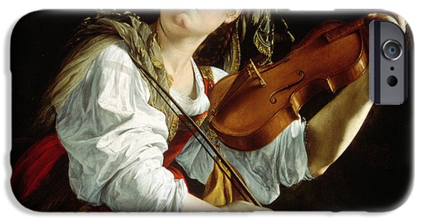Music iPhone Cases - Young Woman with a Violin iPhone Case by Orazio Gentileschi