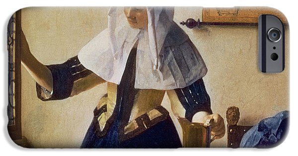 Young Paintings iPhone Cases - Young Woman with a Water Jug iPhone Case by Jan Vermeer