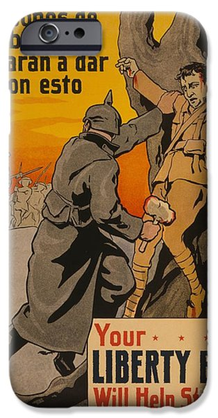 Wwi iPhone Cases - Your Liberty Bond will help stop this Crisco restoration 1916 WWI iPhone Case by Celestial Images