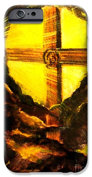 The Wooden Cross Paintings iPhone Cases - Youre His First Love iPhone Case by Hazel Holland
