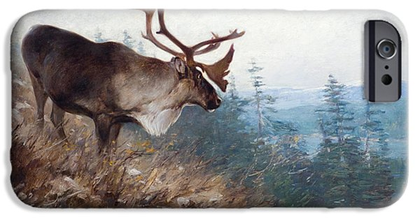 1907 Paintings iPhone Cases - Yukon King Caribou iPhone Case by Carl Rungius