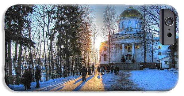 Young Pyrography iPhone Cases - YURY BASHKIN Russian Church in winter iPhone Case by Yury Bashkin