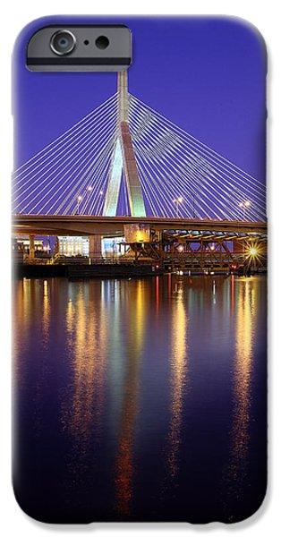 Charles River iPhone Cases - Zakim at Twilight II iPhone Case by Rick Berk