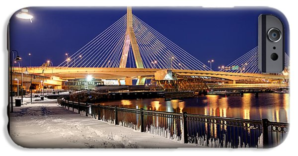 Charles River iPhone Cases - Zakim Bridge in Winter iPhone Case by Denis Tangney Jr
