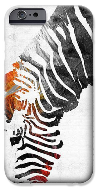 Zebra iPhone Cases - Zebra Black White And Red Orange by Sharon Cummings  iPhone Case by Sharon Cummings
