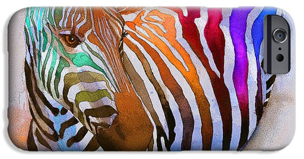Colorful Paintings iPhone Cases - Zebra Dreams iPhone Case by Galen Hazelhofer