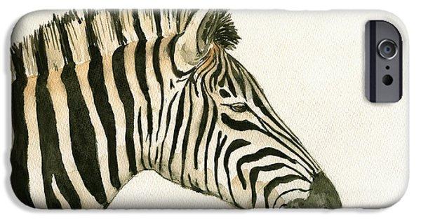 Zebra iPhone Cases - Zebra head study painting iPhone Case by Juan  Bosco