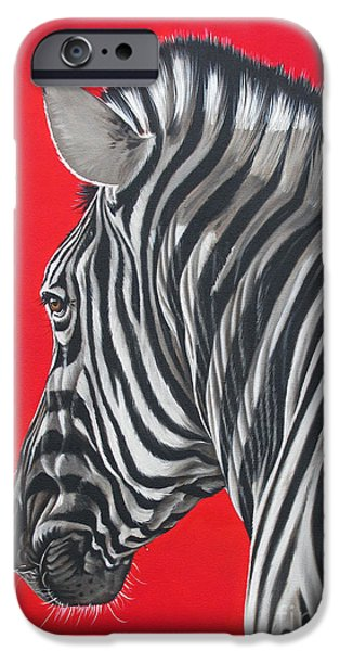 zebra in African sun iPhone Case by Ilse Kleyn