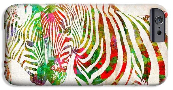 Zebra Digital Art iPhone Cases - Zebra Lovin iPhone Case by Nikki Smith