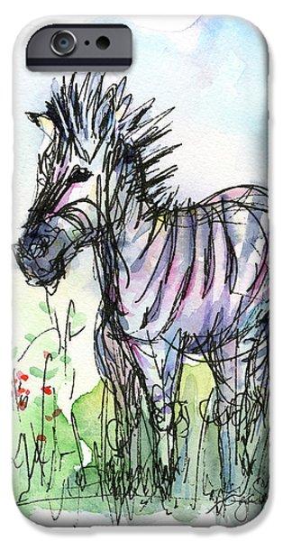 Kids Art Paintings iPhone Cases - Zebra Painting Watercolor Sketch iPhone Case by Olga Shvartsur