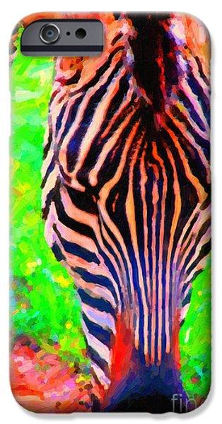 Zebra Digital iPhone Cases - Zebra . Photoart iPhone Case by Wingsdomain Art and Photography