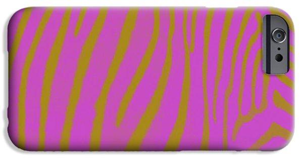 Zebra Digital Art iPhone Cases - Zebra Shmebra iPhone Case by Michelle Calkins