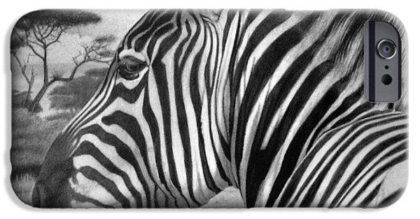Horse Artist iPhone Cases - Zebra iPhone Case by Tim Dangaran