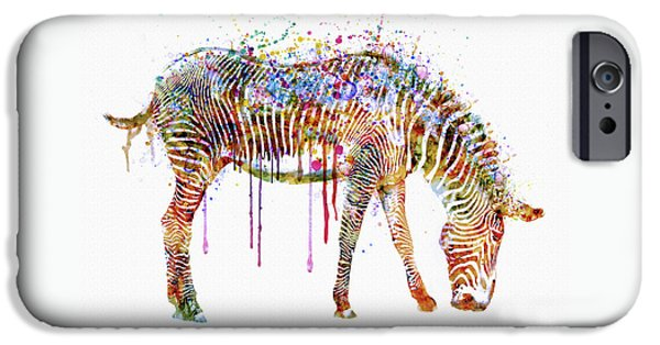 Zebra iPhone Cases - Zebra watercolor painting iPhone Case by Marian Voicu