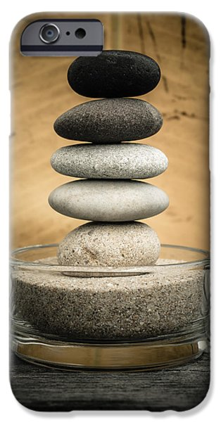 Mystic Setting Photographs iPhone Cases - Zen Stones I iPhone Case by Marco Oliveira