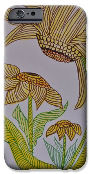 Flora Drawings iPhone Cases - Zentangle Sunflowers iPhone Case by Maria Urso