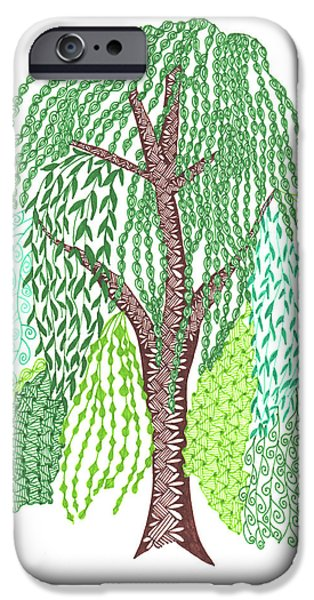 Willow iPhone Cases - Zentangled Willow Tree iPhone Case by Sharon White