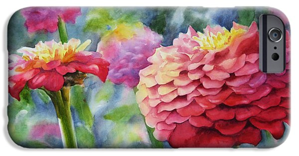 Zinnias iPhone Cases - Zinnias iPhone Case by Sue Zimmermann