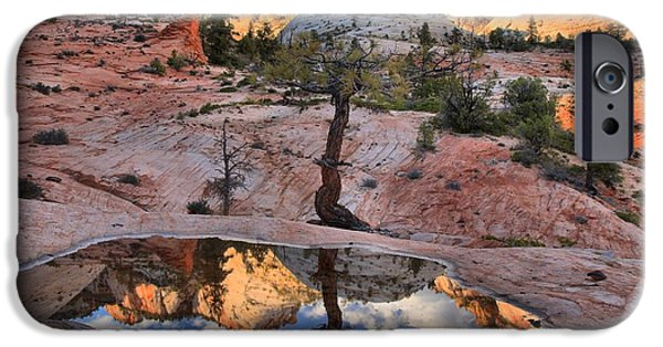 Zion Park iPhone Cases - Zion Sunset Reflections iPhone Case by Adam Jewell