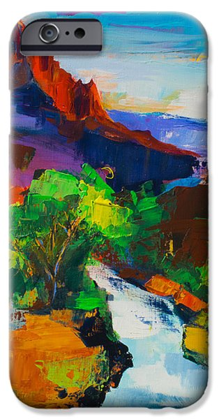Beautiful Scenery Paintings iPhone Cases - Zion - The Watchman and the Virgin River iPhone Case by Elise Palmigiani