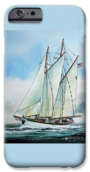 Tall Ship Paintings iPhone Cases - Zodiac iPhone Case by James Williamson