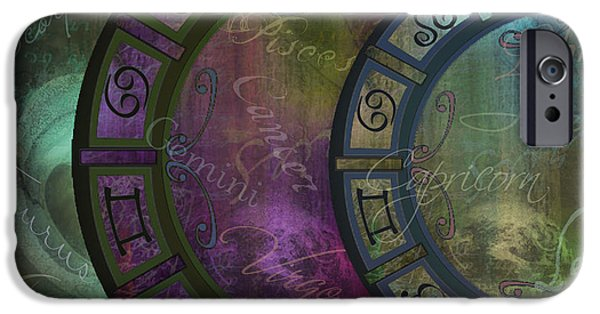 Zodiac Paintings iPhone Cases - Zodiac Wheel iPhone Case by Mindy Sommers