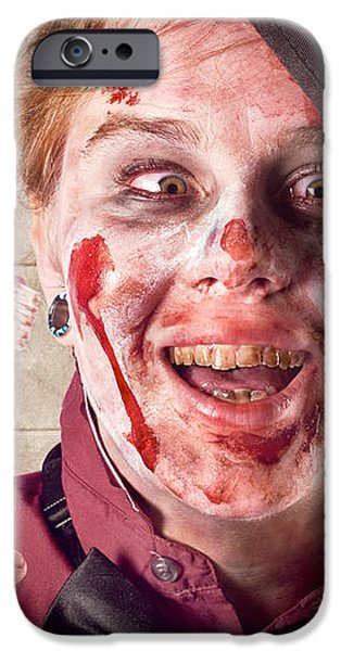 Zombie at dentist holding toothbrush. Tooth decay iPhone Case by Ryan Jorgensen