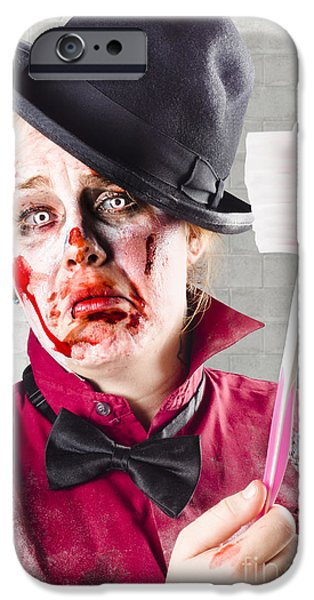 Dismay iPhone Cases - Zombie with big toothbrush. Fear of the dentist iPhone Case by Ryan Jorgensen