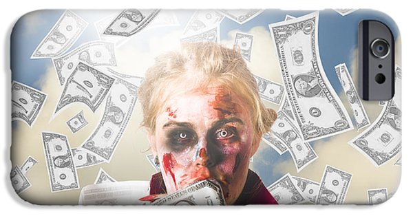 Scrooge iPhone Cases - Zombie with crazy money. Filthy rich millionaire iPhone Case by Ryan Jorgensen