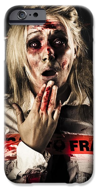 Creepy iPhone Cases - Zombie woman expressing fear and shock when waking iPhone Case by Ryan Jorgensen