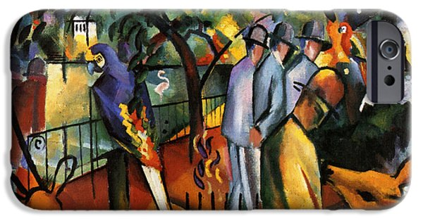 Zoological Paintings iPhone Cases - Zoological Garden iPhone Case by August Macke