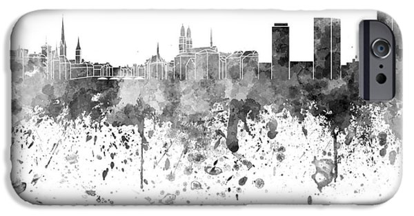 Switzerland Paintings iPhone Cases - Zurich skyline in black watercolor on white background iPhone Case by Pablo Romero