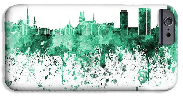 Switzerland Paintings iPhone Cases - Zurich skyline in green watercolor on white background iPhone Case by Pablo Romero