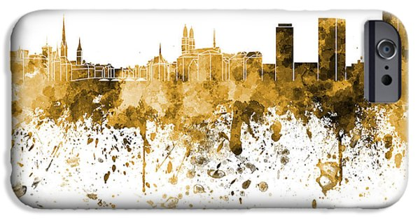 Switzerland Paintings iPhone Cases - Zurich skyline in orange watercolor on white background iPhone Case by Pablo Romero