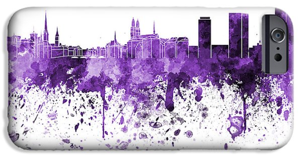 Switzerland Paintings iPhone Cases - Zurich skyline in purple watercolor on white background iPhone Case by Pablo Romero