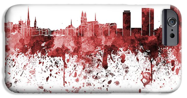 Switzerland Paintings iPhone Cases - Zurich skyline in red watercolor on white background iPhone Case by Pablo Romero