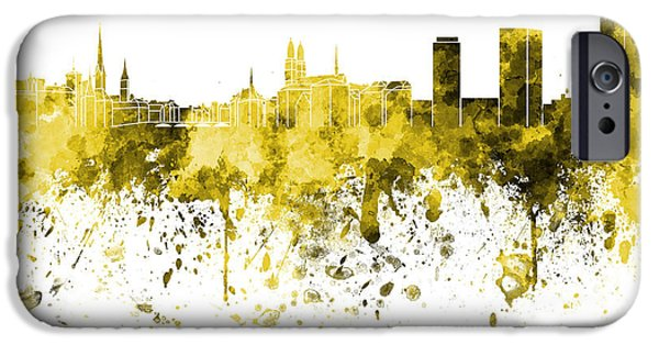 Switzerland Paintings iPhone Cases - Zurich skyline in yellow watercolor on white background iPhone Case by Pablo Romero
