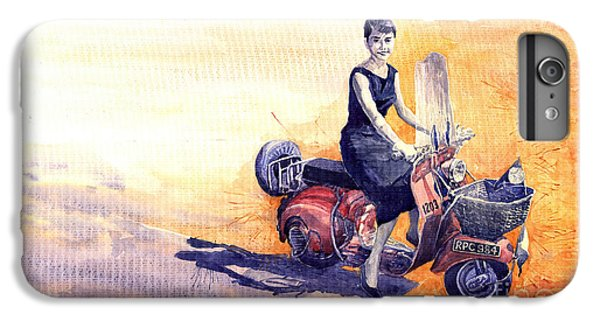 Audrey Hepburn And Vespa In Roma Holidey  IPhone 6 Plus Case by Yuriy  Shevchuk