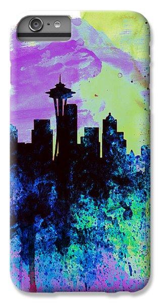 Seattle Watercolor Skyline 1 IPhone 6 Plus Case by Naxart Studio