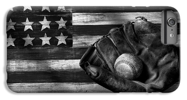 Folk Art American Flag And Baseball Mitt Black And White IPhone 6 Plus Case by Garry Gay