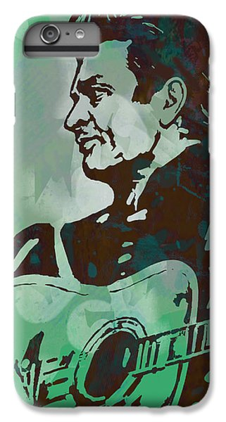 Johnny Cash - Stylised Etching Pop Art Poster IPhone 6 Plus Case by Kim Wang