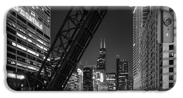 Kinzie Street Railroad Bridge At Night In Black And White IPhone 6 Plus Case by Sebastian Musial