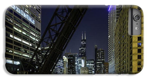 Kinzie Street Railroad Bridge At Night IPhone 6 Plus Case by Sebastian Musial