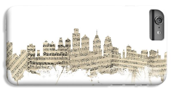 Philadelphia Pennsylvania Skyline Sheet Music Cityscape IPhone 6 Plus Case by Michael Tompsett