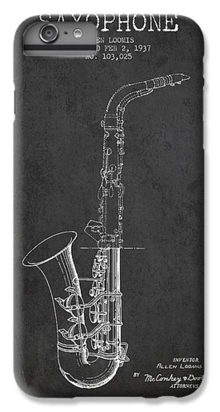 Saxophone Patent Drawing From 1937 - Dark IPhone 6 Plus Case by Aged Pixel