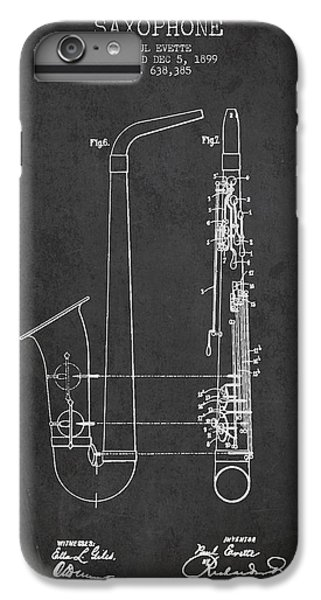 Saxophone Patent Drawing From 1899 - Dark IPhone 6 Plus Case by Aged Pixel