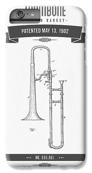 1902 Trombone Patent Drawing IPhone 6 Plus Case by Aged Pixel