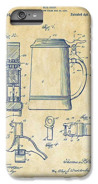 1914 Beer Stein Patent Artwork - Vintage IPhone 6 Plus Case by Nikki Marie Smith