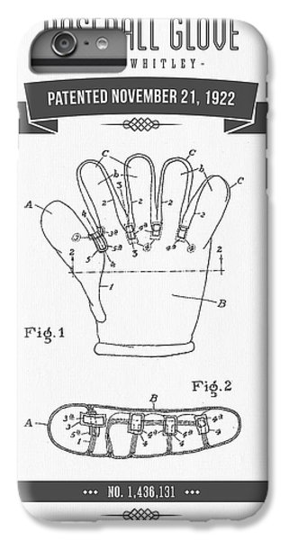 1922 Baseball Glove Patent Drawing IPhone 6 Plus Case by Aged Pixel